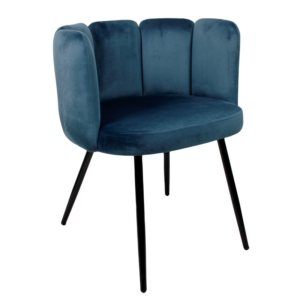 High five chair velvet - donkerblauw