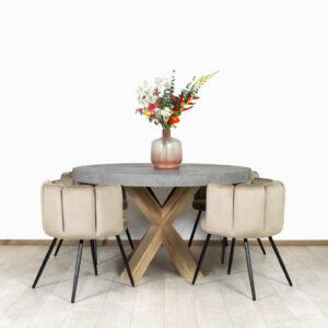 Betonlook tafel Lefor met eikenhouten matrix poot