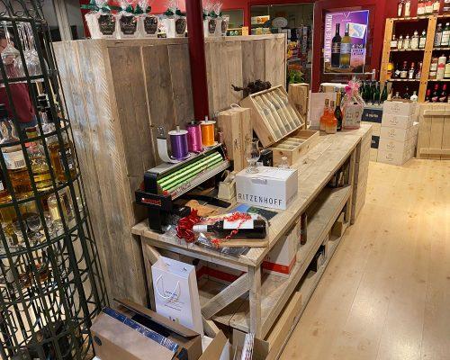 Steigerhouten displaykasten voor winkels
