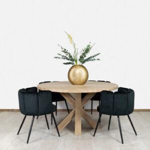 Eikenhouten tafel Trego met houten matrixpoot