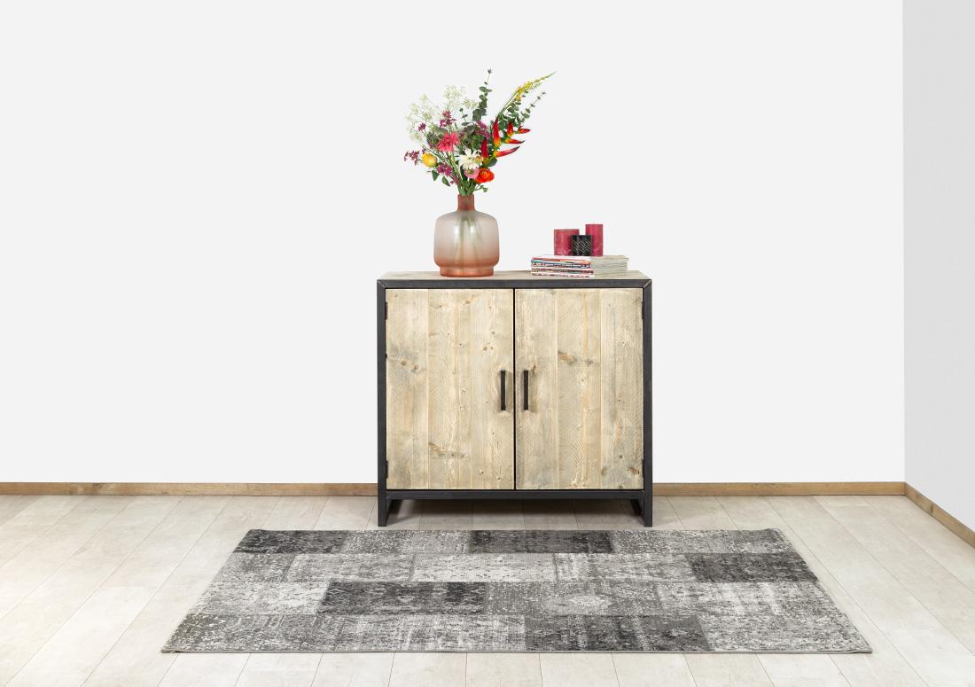 Steigerhouten dressoir Pinon met stalen frame